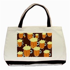 A Fun Cartoon Frothy Beer Tiling Pattern Basic Tote Bag