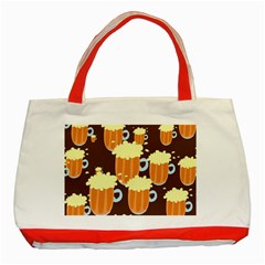 A Fun Cartoon Frothy Beer Tiling Pattern Classic Tote Bag (Red)
