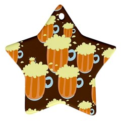 A Fun Cartoon Frothy Beer Tiling Pattern Star Ornament (Two Sides)