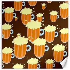 A Fun Cartoon Frothy Beer Tiling Pattern Canvas 16  x 16