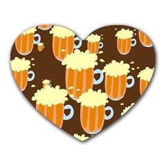 A Fun Cartoon Frothy Beer Tiling Pattern Heart Mousepads