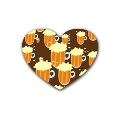 A Fun Cartoon Frothy Beer Tiling Pattern Heart Coaster (4 Pack)