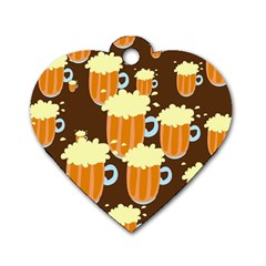 A Fun Cartoon Frothy Beer Tiling Pattern Dog Tag Heart (One Side)