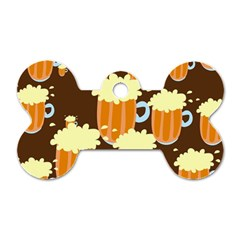 A Fun Cartoon Frothy Beer Tiling Pattern Dog Tag Bone (Two Sides)