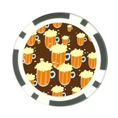 A Fun Cartoon Frothy Beer Tiling Pattern Poker Chip Card Guard