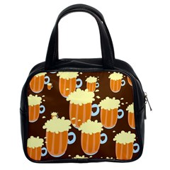 A Fun Cartoon Frothy Beer Tiling Pattern Classic Handbags (2 Sides)