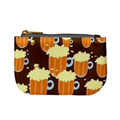 A Fun Cartoon Frothy Beer Tiling Pattern Mini Coin Purses