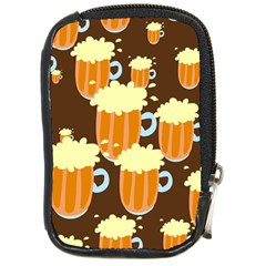 A Fun Cartoon Frothy Beer Tiling Pattern Compact Camera Cases