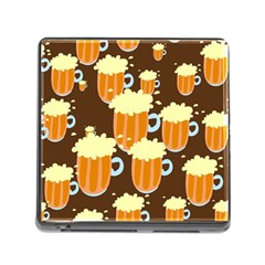 A Fun Cartoon Frothy Beer Tiling Pattern Memory Card Reader (Square)