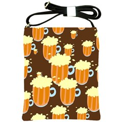 A Fun Cartoon Frothy Beer Tiling Pattern Shoulder Sling Bags
