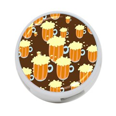 A Fun Cartoon Frothy Beer Tiling Pattern 4-Port USB Hub (Two Sides)