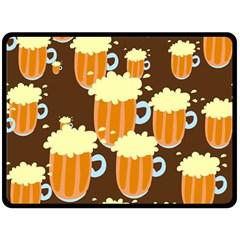 A Fun Cartoon Frothy Beer Tiling Pattern Fleece Blanket (large)