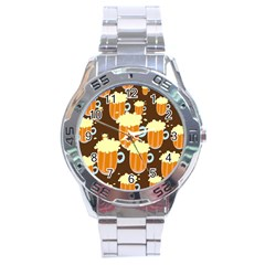 A Fun Cartoon Frothy Beer Tiling Pattern Stainless Steel Analogue Watch