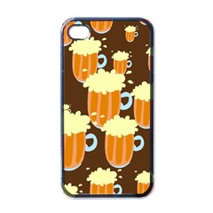 A Fun Cartoon Frothy Beer Tiling Pattern Apple Iphone 4 Case (black)
