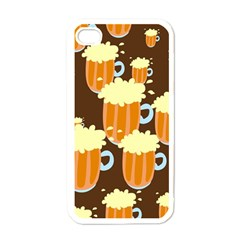 A Fun Cartoon Frothy Beer Tiling Pattern Apple Iphone 4 Case (white)