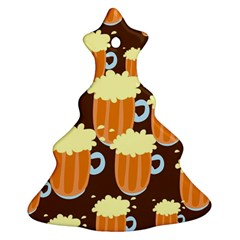 A Fun Cartoon Frothy Beer Tiling Pattern Ornament (Christmas Tree)