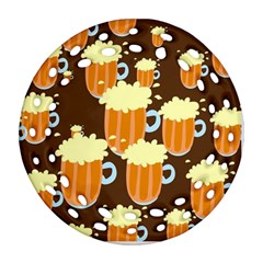 A Fun Cartoon Frothy Beer Tiling Pattern Round Filigree Ornament (Two Sides)