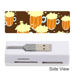 A Fun Cartoon Frothy Beer Tiling Pattern Memory Card Reader (Stick)