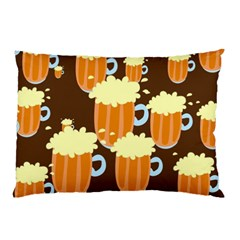A Fun Cartoon Frothy Beer Tiling Pattern Pillow Case (Two Sides)