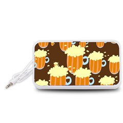 A Fun Cartoon Frothy Beer Tiling Pattern Portable Speaker (White)