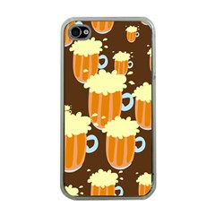 A Fun Cartoon Frothy Beer Tiling Pattern Apple iPhone 4 Case (Clear)
