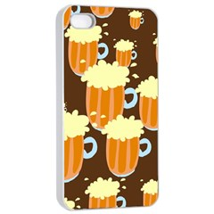 A Fun Cartoon Frothy Beer Tiling Pattern Apple iPhone 4/4s Seamless Case (White)