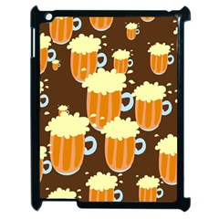 A Fun Cartoon Frothy Beer Tiling Pattern Apple iPad 2 Case (Black)