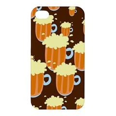 A Fun Cartoon Frothy Beer Tiling Pattern Apple Iphone 4/4s Premium Hardshell Case
