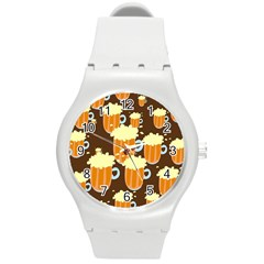 A Fun Cartoon Frothy Beer Tiling Pattern Round Plastic Sport Watch (m)