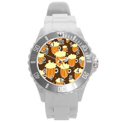 A Fun Cartoon Frothy Beer Tiling Pattern Round Plastic Sport Watch (l)