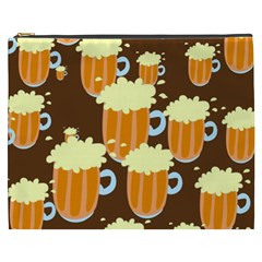 A Fun Cartoon Frothy Beer Tiling Pattern Cosmetic Bag (xxxl)