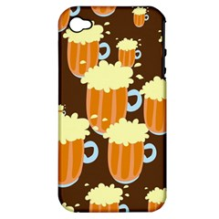 A Fun Cartoon Frothy Beer Tiling Pattern Apple Iphone 4/4s Hardshell Case (pc+silicone)