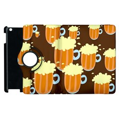 A Fun Cartoon Frothy Beer Tiling Pattern Apple iPad 2 Flip 360 Case
