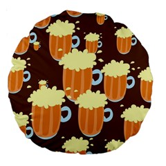 A Fun Cartoon Frothy Beer Tiling Pattern Large 18  Premium Round Cushions
