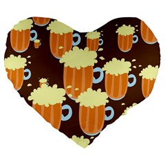 A Fun Cartoon Frothy Beer Tiling Pattern Large 19  Premium Heart Shape Cushions