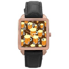 A Fun Cartoon Frothy Beer Tiling Pattern Rose Gold Leather Watch