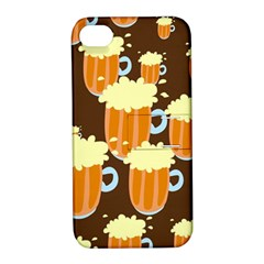 A Fun Cartoon Frothy Beer Tiling Pattern Apple Iphone 4/4s Hardshell Case With Stand