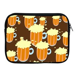 A Fun Cartoon Frothy Beer Tiling Pattern Apple iPad 2/3/4 Zipper Cases