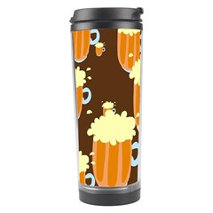 A Fun Cartoon Frothy Beer Tiling Pattern Travel Tumbler