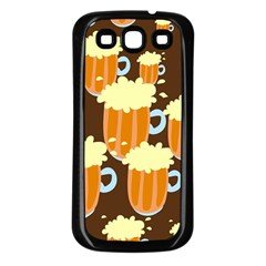 A Fun Cartoon Frothy Beer Tiling Pattern Samsung Galaxy S3 Back Case (Black)