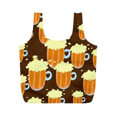 A Fun Cartoon Frothy Beer Tiling Pattern Full Print Recycle Bags (M)