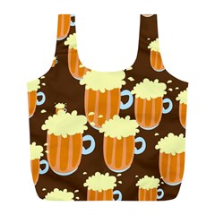 A Fun Cartoon Frothy Beer Tiling Pattern Full Print Recycle Bags (l)