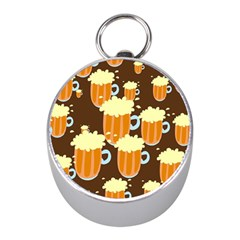 A Fun Cartoon Frothy Beer Tiling Pattern Mini Silver Compasses