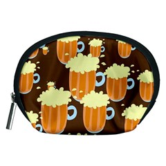 A Fun Cartoon Frothy Beer Tiling Pattern Accessory Pouches (medium)