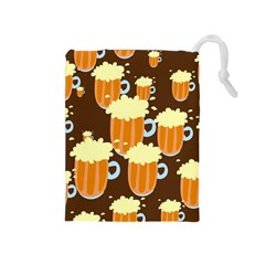 A Fun Cartoon Frothy Beer Tiling Pattern Drawstring Pouches (medium)