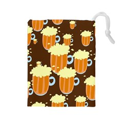 A Fun Cartoon Frothy Beer Tiling Pattern Drawstring Pouches (large)