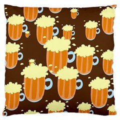 A Fun Cartoon Frothy Beer Tiling Pattern Large Flano Cushion Case (One Side)