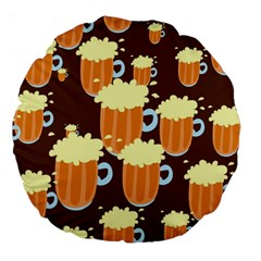 A Fun Cartoon Frothy Beer Tiling Pattern Large 18  Premium Flano Round Cushions