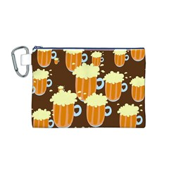 A Fun Cartoon Frothy Beer Tiling Pattern Canvas Cosmetic Bag (m)