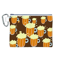 A Fun Cartoon Frothy Beer Tiling Pattern Canvas Cosmetic Bag (l)
